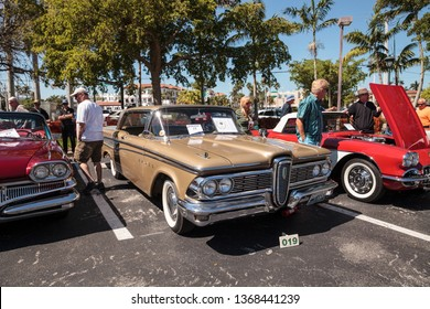 Naples, Florida, USA – March 23,2019: Tan 1959 Corsair at the 32nd Annual Naples Depot Classic Car Show in Naples, Florida. Editorial only.