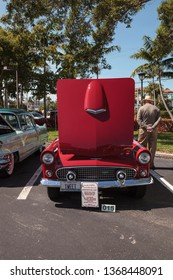 Naples, Florida, USA – March 23,2019: Red 1956 Ford Thunderbird at the 32nd Annual Naples Depot Classic Car Show in Naples, Florida. Editorial only.