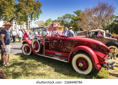 Naples, Florida, USA – March 23,2019: Red 1929 Auburn 120 Speedster at the 32nd Annual Naples Depot Classic Car Show in Naples, Florida. Editorial only.