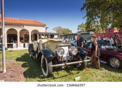 Naples, Florida, USA – March 23,2019: Yellow 1926 Rolls Royce Silver Ghost at the 32nd Annual Naples Depot Classic Car Show in Naples, Florida. Editorial only.