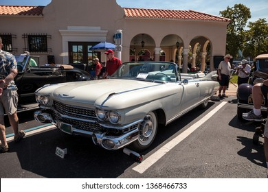 Naples, Florida, USA – March 23,2019: White 1959 Cadillac Eldorado at the 32nd Annual Naples Depot Classic Car Show in Naples, Florida. Editorial only.