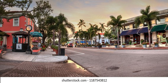 Naples, Florida, USA – September 22, 2018: Sunrise over the Third Street shopping district in Old Naples, Florida.