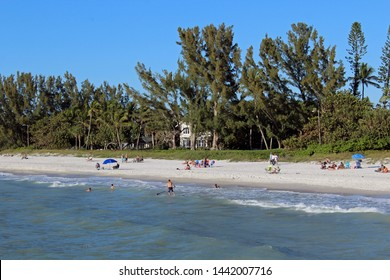 Naples, FL/USA: Feb 28, 2019 –View from Gulf of Mexico of sunbathers, swimmers and a man on paddleboard on beach in upscale Napes FL. Blue sky, sandy beach and luxury housing in background.