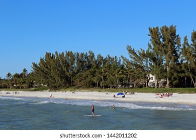 Naples, FL/USA: Feb 28, 2019 –View from Gulf of Mexico of sunbathers, swimmers and man on paddleboard on beach in upscale Napes FL. Blue sky, sandy beach and luxury waterfront housing in background.
