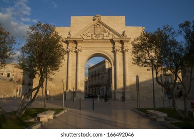 Naples gates (Porta Napoli) the entrance to the old town of Lecce,  Italy, region Puglia