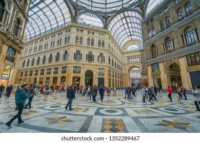 NAPLES, ITALY - 05 NOVEMBER, 2018 - Galleria Umberto I, a public shopping gallery in Napoli and its interiors