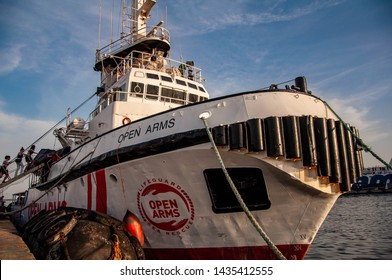 Naples Italy 06/21/2019 The Open Arms ship docked in Naples for the presentation of the book by Roberto Saviano. Symbol of help for migrants.
