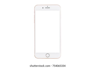 Naples / Italy - 10 NOV 2017: Blank screen smartphone iPhone 8 Plus by Apple isolated on white background.