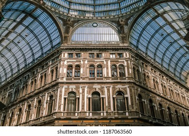 Naples, ITALY - 10 October 2017,   Shopping gallery Galleria Umberto in Naples, Italy. Naples historic city center is the largest in Europe, and is listed by UNESCO as a World Heritage Site.