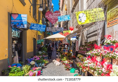 NAPLES, ITALY - 13 MAY 2017 - The historic center of the biggest city of south Italy. Here in particular: the Quartieri Spagnoli street