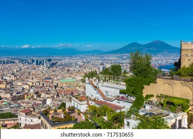 NAPLES, ITALY - 13 MAY 2017 - The historic center of the biggest city of south Italy. Here in particular: the cityscpe from Castel Sant'Elmo castle