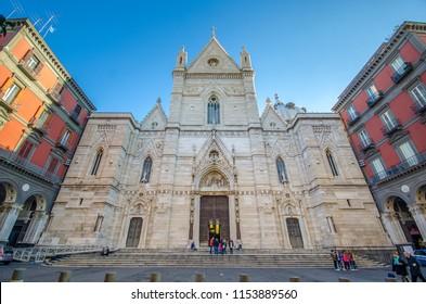 Naples, Italy - 15 July, 2018: Naples cathedral, Duomo di Santa Maria Assunta or Cattedrale di San Gennaro in Napoli