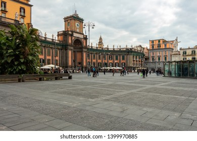 Naples, Italy: 19 February 2019: Dante square in Naples.
