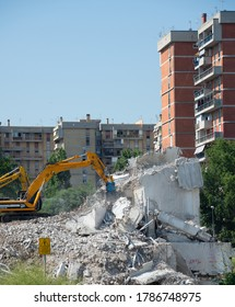 Naples - Italy. 2 July 2020: the demolition of the green sail of Scampia is definitively completed