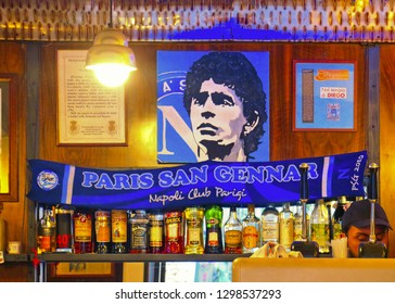 NAPLES, ITALY 20.05.2016. tribute to Maradona in typical bar in Naples, Italy. Maradona has played in Napoli football team for 8 years and is considered the best football player of all time