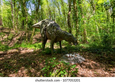 NAPLES, ITALY - APRIL 08, 2018 - In the Cratere Astroni Nature Reserve there are the dinosaurs created by GeoModel with the collaboration of WWF Oasi and Associazione Paleontologica A.P.P.I.