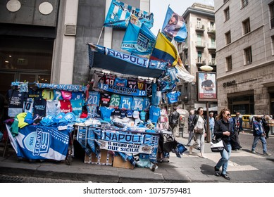 Naples, Italy - April 16, 2018. A street vendor's shop selling Napoli Football Club accessories, at the center of the city.