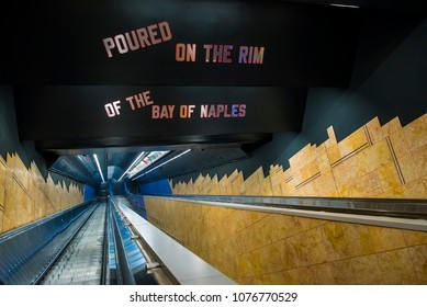 Naples, Italy - April 16, 2018. Escalators inside the Toledo Metro Station in the center of the city.