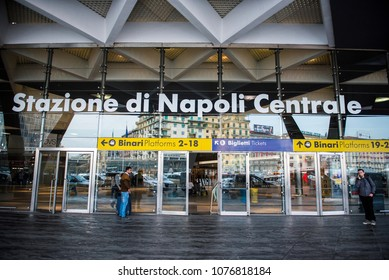 Naples, Italy - April 17, 2018. The  entrance of Naples Central Train Station.