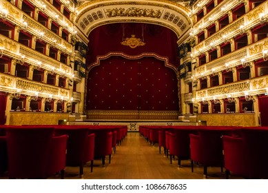 Naples, Italy - April 18, 2018. The Teatro di San Carlo in Napoli. Teatro di San Carlo is the oldest continuously active venue for public opera in the world, opening in 1737.