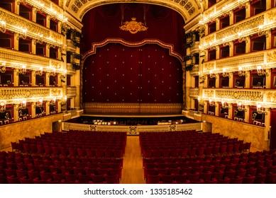Naples, Italy - April 18, 2018. The Teatro di San Carlo in Napoli. Teatro di San Carlo is the oldest continuously active venue for public opera in the world, opening in 1737.