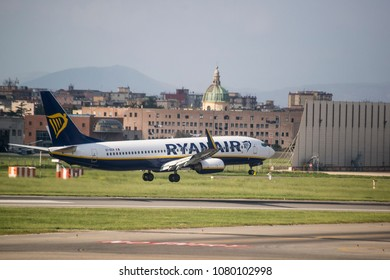 Naples, Italy - April 19, 2018. A Ryanair Boeing 737-800 (EI-DCR) lands at Naples International Airport.