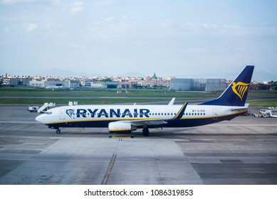 Naples, Italy - April 19, 2018. A Ryanair Boeing 737-800 (EI-DCR) taxis at Naples International Airport.