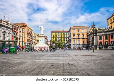 NAPLES, ITALY - April 22, 2011: Piazza Dante is a large public square in Naples, Italy, named after the poet Dante Alighieri. The square is dominated by a 19th-century statue of the poet Dante.
