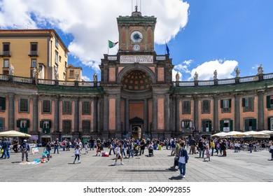NAPLES, ITALY - Aug 22, 2021: The Convitto Nazionale Vittorio Emanuele II in Naples, Italy