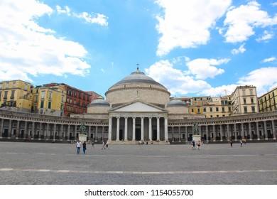 Naples, Italy - August 13 2017: Church of San Francesco di Paola in Plebiscito Square, Naples