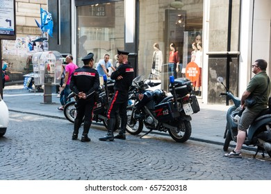 NAPLES, ITALY - AUGUST 14 2015: Police / carabinieri standing