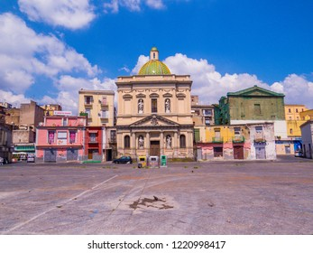 NAPLES, ITALY - AUGUST 17, 2018: View of the Chiesa di Santa Croce e Purgatorio al Mercato (Church of The Holy Cross and Purgatory at the Market) in Naples, Italy