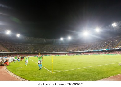 NAPLES, ITALY- AUGUST 2, 2014:  Wide view of the game and the stadium during the friendly match Napoli vs Paok.