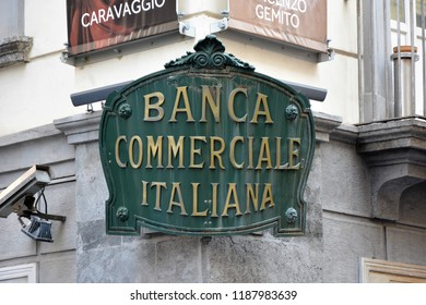 NAPLES, ITALY - AUGUST 22, 2018: Banca Commerciale Italiana street sign in Naples