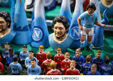 NAPLES, ITALY - AUGUST 22, 2018: Diego Maradona Miniature in Naples City, Italy