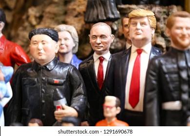 NAPLES, ITALY - AUGUST 22, 2018: Vladimir Putin Miniature in Naples City, Italy