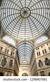NAPLES, ITALY - AUGUST 22, 2018: Inside of Galleria Umberto I in Naples City