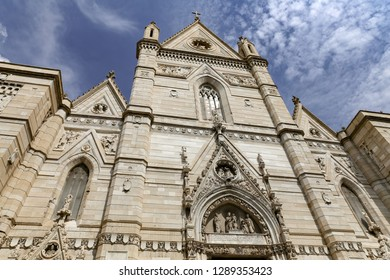 NAPLES, ITALY - AUGUST 24, 2018: Facade of Naples Cathedral in Naples City, Italy
