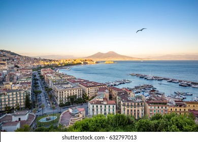 Naples, Italy. cityscape at sunset from Posillipo, with seagull and mount Vesuvius on background