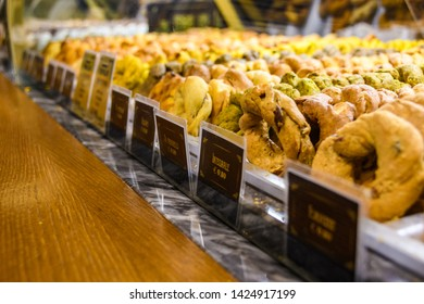 NAPLES, ITALY - DECEMBER 6, 2018: Taralli, typical Neapolitan bakery in the Old Town of Naples, Italy