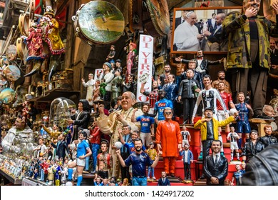 NAPLES, ITALY - DECEMBER 6, 2018: Traditional sculptures in San Aermenio Gregorio Street in the Old Town of Naples, Italy
