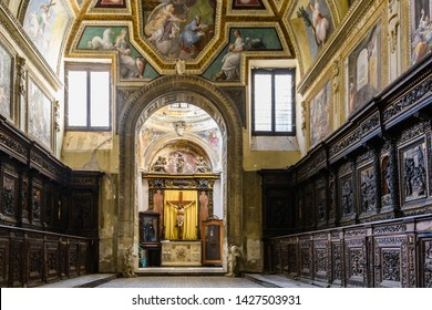 NAPLES, ITALY - DECEMBER 6, 2018: Interior of Basilica della Santissima Annunziata Maggiore in the Old Town of Naples, Italy
