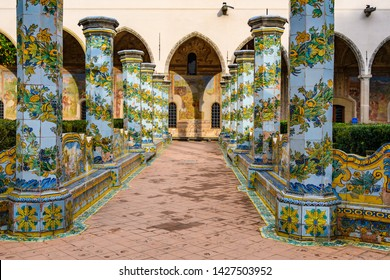 NAPLES, ITALY - DECEMBER 6, 2018: Garden of Santa Clara Monastery in the Old Town of Naples, Italy