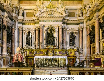 NAPLES, ITALY - DECEMBER 6, 2018: Altar of San Gennaro Cathedral in the Old Town of Naples, Italy