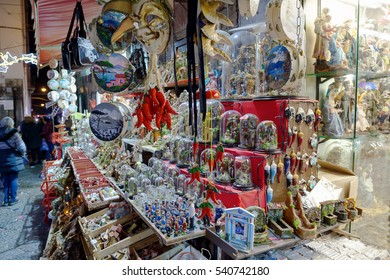Naples, Italy - December 9, 2016: The Christmas holiday atmosphere in the heart of the city. San Gregorio Armeno, the most famous street in the world for the sale of cribs and commemorative statues.
