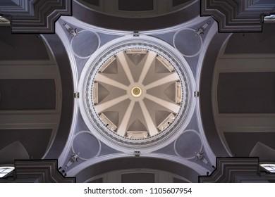 Naples / Italy - February 2018: Roof dome of the famous church Santa Maria della Sanitá Basilica
