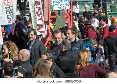 Naples, Italy -February 26, 2017: 35th carnival in Scampia GRIDAS of a cultural association founded in 1981 by Felice Pignataro.