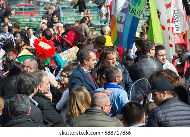 Naples, Italy -February 26, 2017: 35th carnival in Scampia GRIDAS of a cultural association founded in 1981. Pictured Mayor De Magistris
