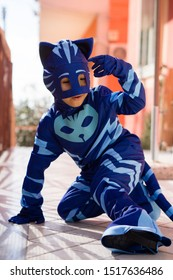 Naples Italy February 27, 2018. Child dressed as a catboy, animated Pj Mask. Carnival Costume