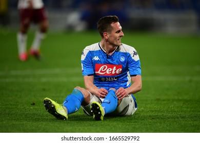 Naples Italy, February 29th, 2020: football Serie A match between Napoli vs Torino at San Paolo Stadium.In the pic: Arkadiusz Milik of NAPOLI